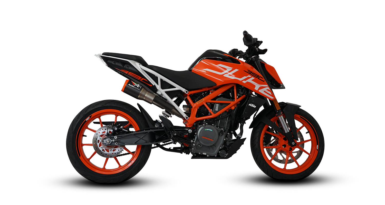 ktm duke 390 gp1 high slung de cat exhaust. Black Bedroom Furniture Sets. Home Design Ideas